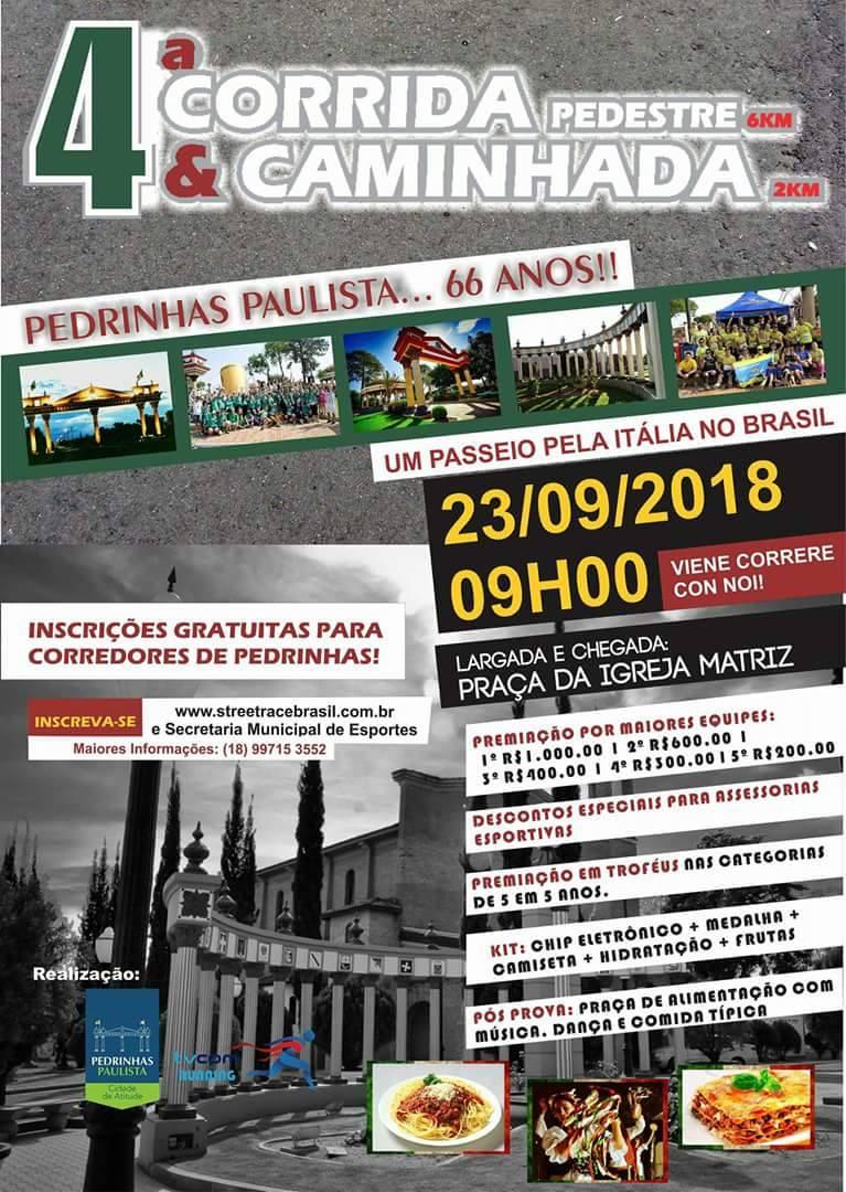 4ª CORRIDA E CAMINHADA DE PEDRINHAS PAULISTA