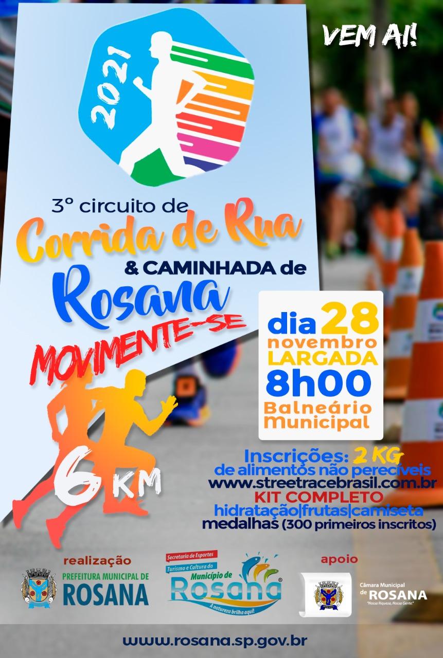 3º CORRIDA & CAMINHADA DE  ROSANA-SP